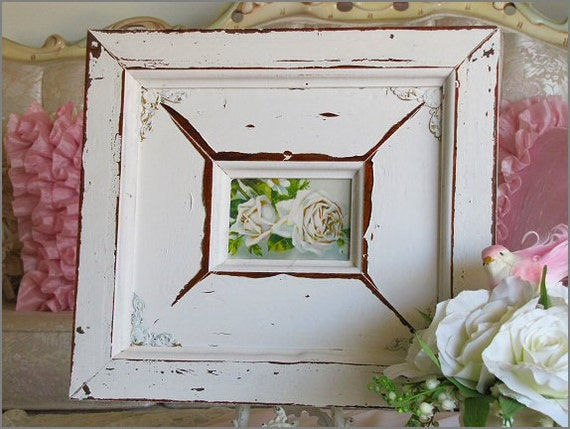 Fabulous Chunky FRAMED ROSE PRINT With Antique Postcard