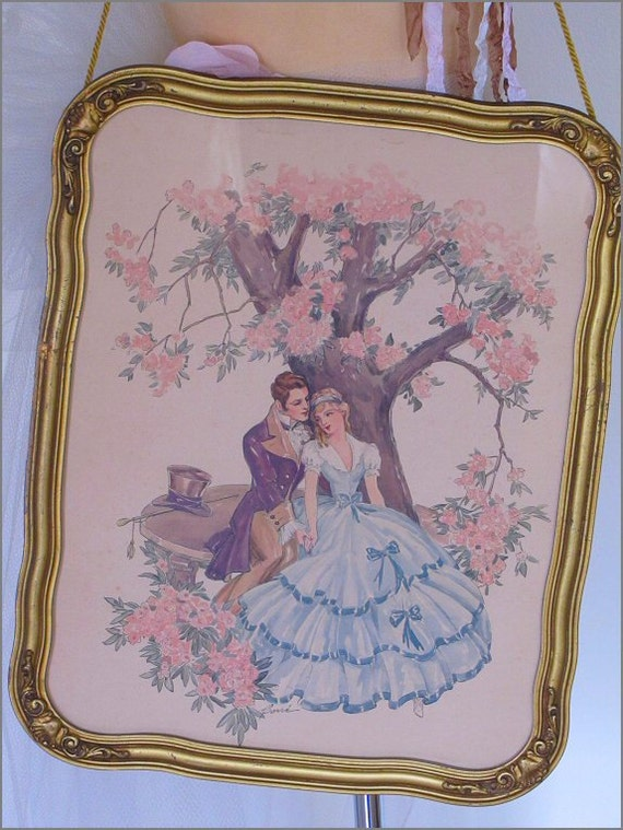 Lovely Antique VICTORIAN COUPLE Framed PRINT