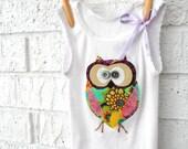 Owl Tank/ Singlet for baby toddler girl