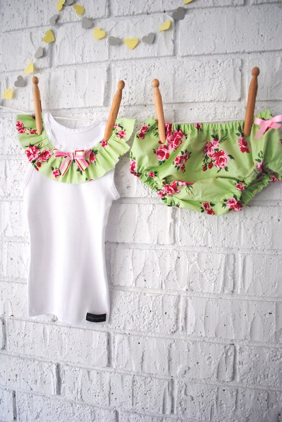 Vintage Inspired Diaper Cover and Tank Set