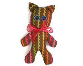 Toy Cat Plushie Soft Toy Yellow Orange Pink Green Zig Zag Stripes Chocolate Brown Waldorf Inspired