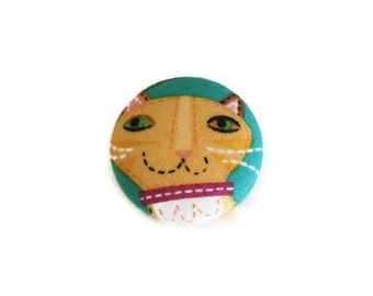 Fabric Cat Button Brooch Pin or Bookmark Handmade Fabric Covered Flatback Button 4cm Yellow Marmalade Cat on Blue Choose pin or bookmark