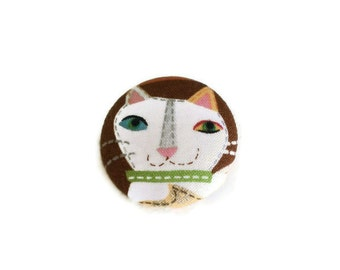 Fabric Cat Button Brooch Pin or Bookmark Handmade Fabric Covered Flatback Button 4cm White Cat on Brown Choose pin or bookmark