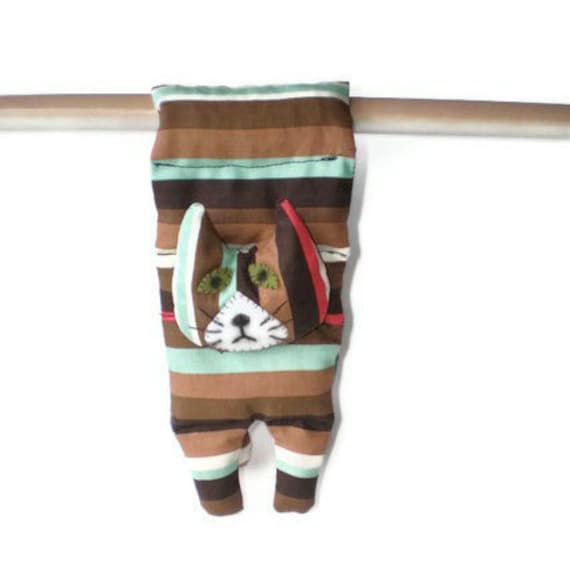 Flat Cat Rice Heat Cold Pack Microwavable for Neck Head Shoulders Brown Orange Blue Green White Stripe Cat