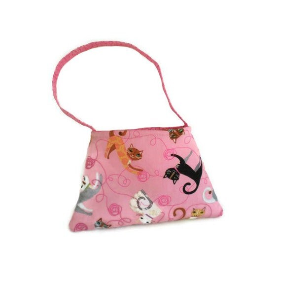 Pink Cat Print Tote Bag Purse Kitten Carrier Cat Lover's or  Child's Bag Cats on Pink Option 1 OOAK
