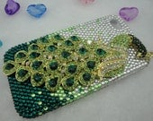 Iphone 4 Case, iPhone 4S Cover Case, Lovely Shine 3D Green Crystals Peacock Hard Case Cover For Apple iphone 4 4G 4S Accessories