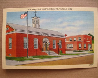Vintage Postcard - linen - Post Office and Makepeace Building - Wareham, Mass
