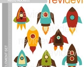 E054 Simply Retro Rockets - Element Set - Cute graphics for Commercial Use and Personal Use