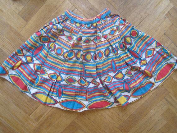 50s full circle skirt novelty print XS