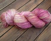 Hand-dyed silk yarn, shades of pink and lemon yellow