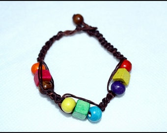 handmade bracelet anklet 87 vintage beach wax cord wood colorful chic