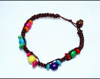 handmade bracelet anklet 94 vintage beach wax cord wood colorful chic