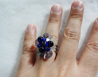 handmade ring 27 stone bead vintage gem unique jewelry blue flower