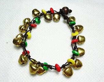 handmade bracelet anklet 165 vintage gold bell beads stone boho gypsy