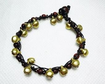 handmade bracelet anklet 167 vintage gold bell beads stone boho gypsy