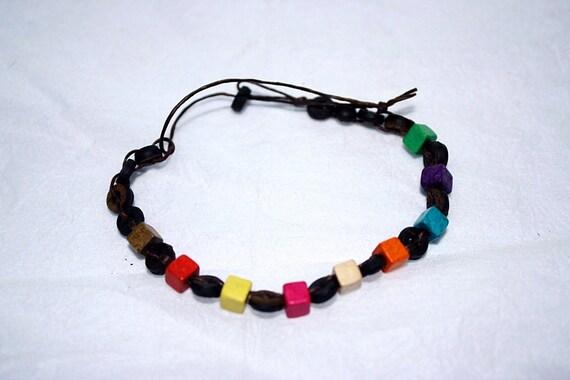 handmade bracelet anklet 71 vintage beach coconut shell colorful
