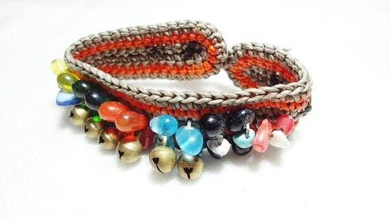 handmade bracelet anklet 125 mhong tribal vintage goldish bell coin wood button orange