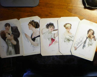 Harrison Fisher Postcard Collection Original 1909 For Framing
