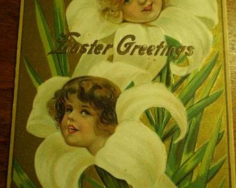 Easter Postcard Embossed Girls in Easter Lilies