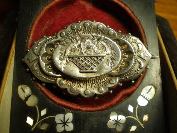 English Sterling Aesthetic Flower Basket Locket Brooch