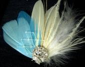 Wedding Bridal White Ivory Veiling Feather Rhinestone Jewel Hair Clip Fascinator Something Blue READY TO SHIP