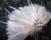 Wedding Bridal White Feather Rhinestone Jewel Head Piece Hair Clip Fascinator Accessory