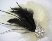Wedding Bridal Bridesmaid Ivory Black Feather Rhinestone Jewel Head Piece Hair Clip Fascinator Accessory