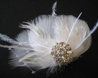 Wedding Bridal White Ivory Feather Veiling Rhinestone Jewel Head Piece Hair Clip Fascinator Accessory