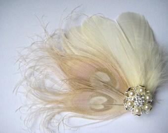 Wedding Bridal Ivory Champagne Peacock Feather Pearl Rhinestone Jewel Head Piece Hair Clip Fascinator Accessory