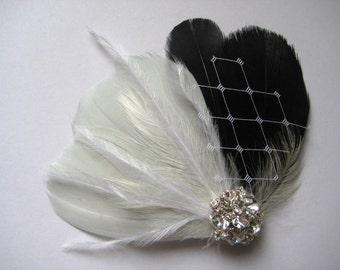 Wedding Bridal Bridesmaid White Black Grey Feather Rhinestone Jewel Veiling Head Piece Hair Clip Fascinator Accessory