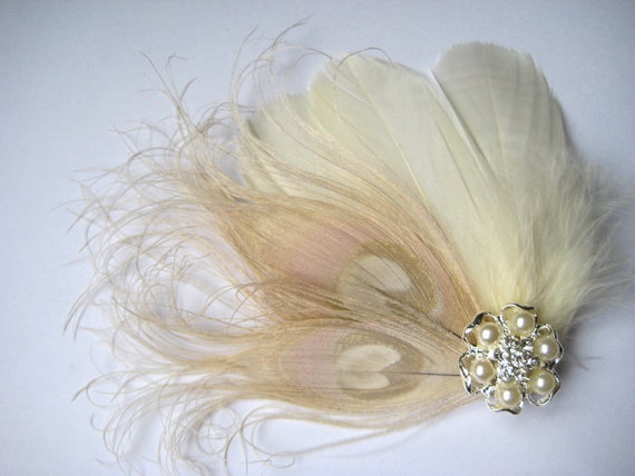Wedding Bridal Ivory Champagne Peacock Feather Pearl Rhinestone Jewel Head Piece Hair Clip Fascinator Accessory
