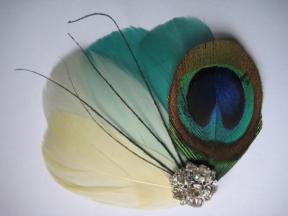 Wedding Bridal Ivory Green Peacock Black Feather Rhinestone Jewel Head Piece Hair Clip Fascinator Accessory