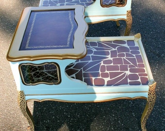 2 Hand Painted  Side Table Giraffe Print  Fun and Creatively Different