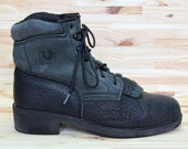 Roper Ankle Boot black grey leather lace up hiking kiltie fringe boots two tone charcoal grey & black, outdoor shoes