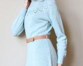 70s Sweater Dress - vintage pale pastel ice blue knit, Nordic snow bunny lodge style, midi length & portrait neckline
