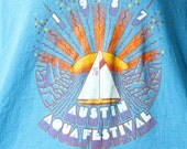 Unisex Worn In Hipster T-Shirt - vintage 80s Austin Texas soft tee tank top, nautical sailboat sunshine graphic, cerulean sky blue
