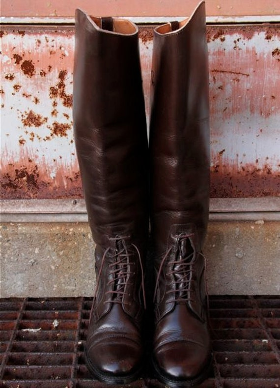 Equestrian Riding Boots vintage tall lace up oxford style