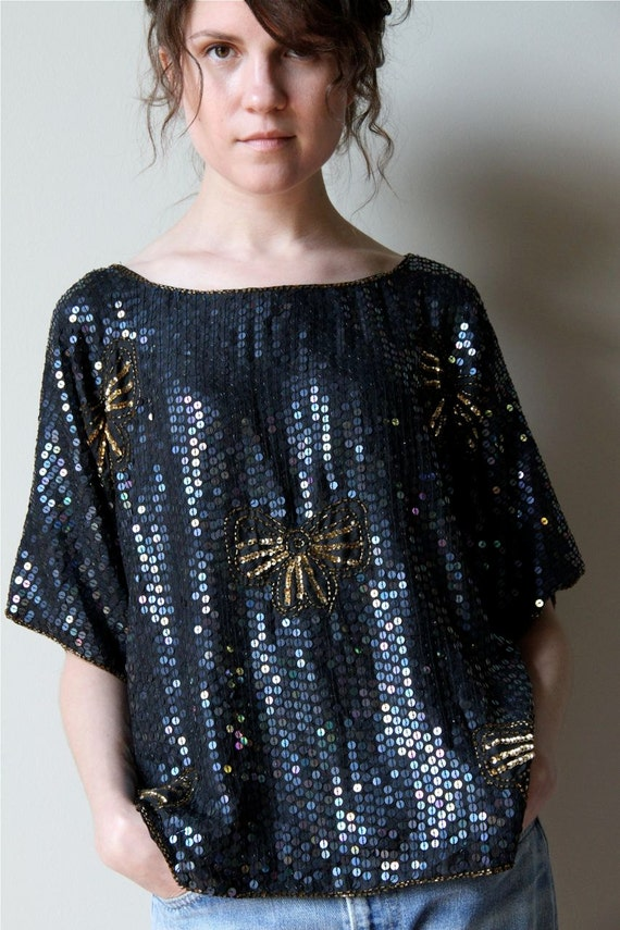 Black Sequin Top - vintage 80s silk shirt, gold beaded bows, slouchy grunge draped rocker t-shirt fit