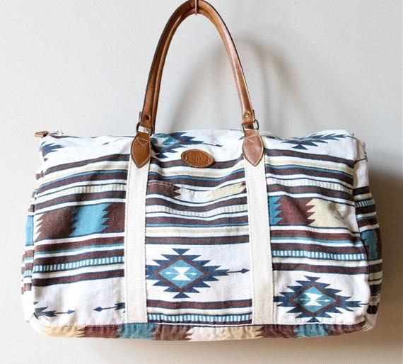 Reserved Huge Aztec Print Duffle Bag Vintage 80s Gitano