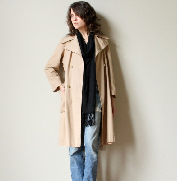 RESERVE 60s Mod Trench Coat - neutral tan vintage Forecaster double breasted jacket, belted cinched waist & dramatic collar