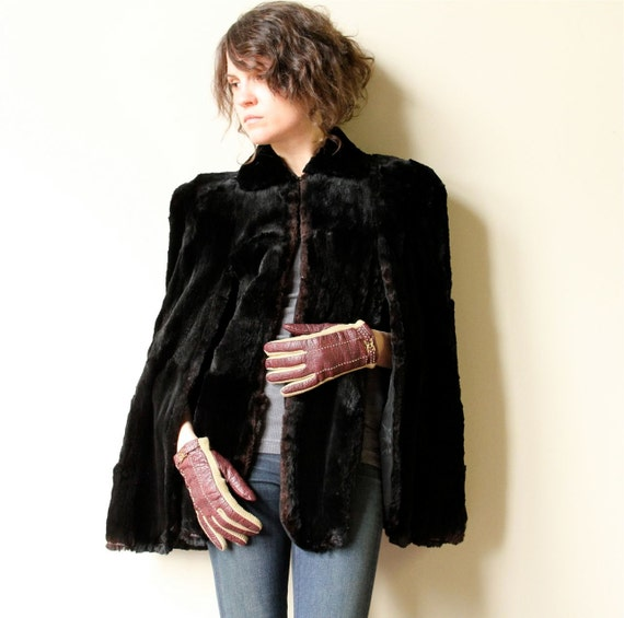 40s Black Mink Fur Cape - vintage Old Hollywood glamour short boxy capelet, bombshell, pin up, steampunk, boho OR grunge style
