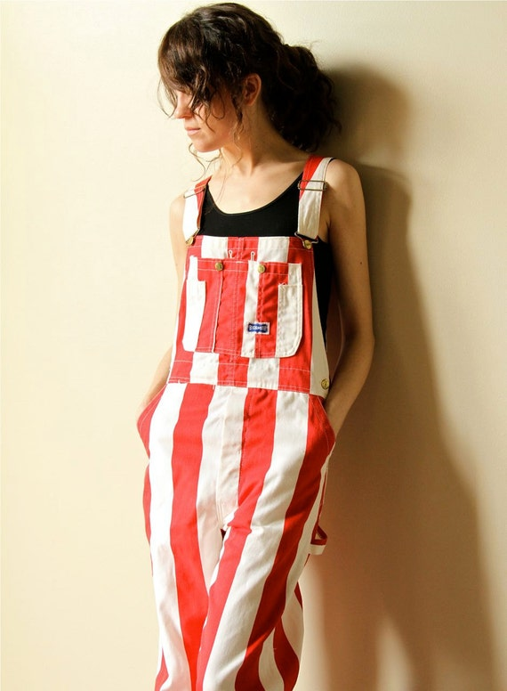 Striped Denim Overalls - vintage 80s cherry red & white circus stripe Pop Art dungarees, old school Hip Hop gear, Country Western work wear