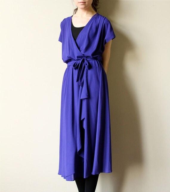 70s Cobalt Blue Grecian Dress - vintage disco goddess faux wrap draped indigo party frock, deep v neck, blouson, lovely drape