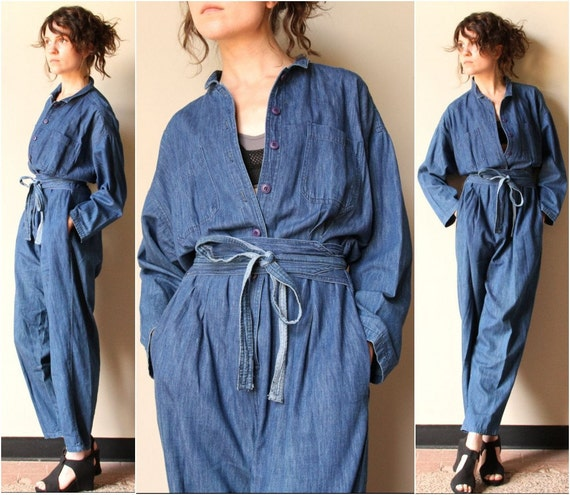 Chambray Shirt Denim Jumpsuit - vintage 80s 90s slouchy one piece avant garde mechanic coveralls, summer denim dungarees, obi wrap belt