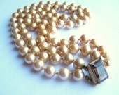 Vintage Signed Marvella Faux Pearl Double Strand Choker Necklace