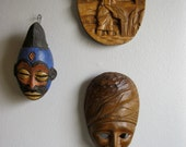 Vintage A Pair of Hand Carved Wooden Small Wall Plaques  St Martin