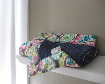 Minky Napping Blanket - Roco Paisley with Navy