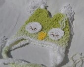 Sleepy Owl Cap - Ready to Ship - Newborn