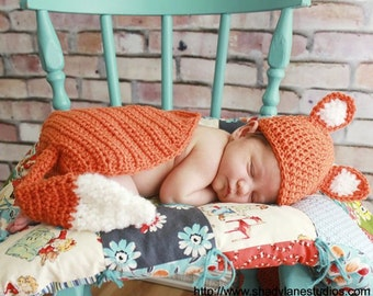Fox Hat & Cape Photo Prop - Newborn