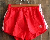 V I N T A G E red adidas running shorts 70s 80s